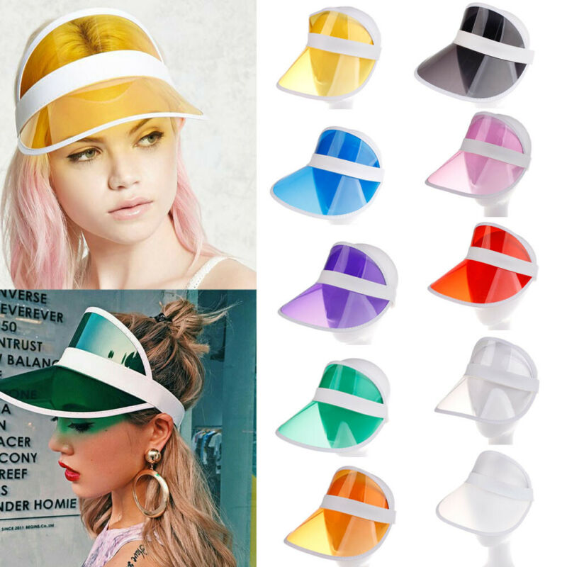Summer Sun Hat Women Unisex Candy Color Transparent Empty Top Plastic PVC Sunshade Hat Visor Caps Bicycle Sunhat Drop Shipping