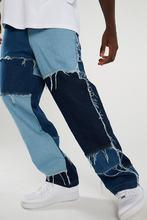 Calças de brim retas masculinas calças de brim moda vintage desgastado retalhos cor bloco denim calças masculinas casuais rasgado bottoms