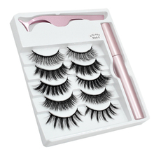 3D 5 Pairs Magnetic Eyelashes And Eyeliner Set Natural/Thick Long Wispy Mink Lashes With 5 Magnets False Eyelashes Makeup Set
