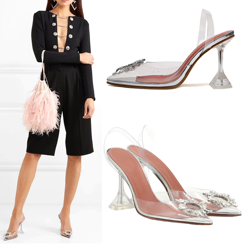 Transparent PVC Sandals Women Pointed Clear Crystal Cup High Heel Stilettos Sexy Pumps Summer Shoes Peep Toe Women Pumps Size 43 6