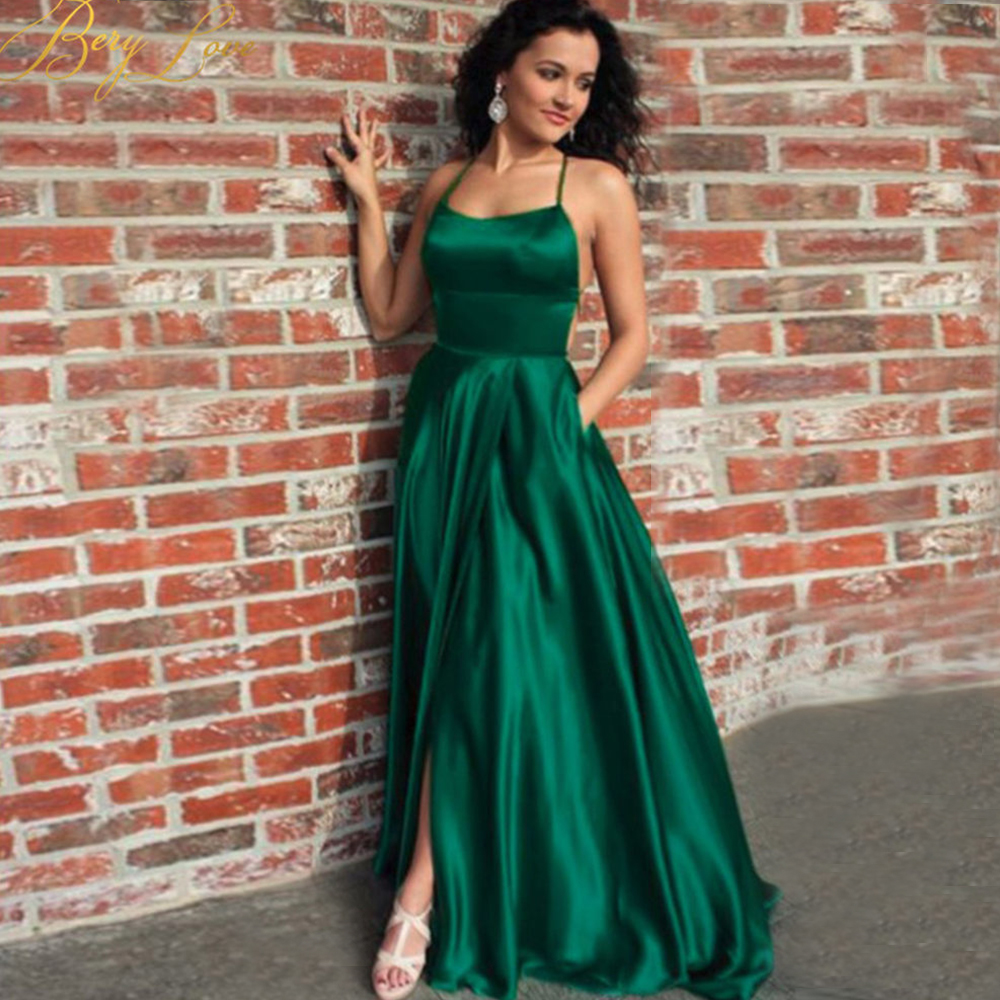 Sexy Dark Green Satin Evening Dress 2020 Slit Backless Prom Dress Halter Straps Back Evening Gowns Party Dress Abiye Robe Femme