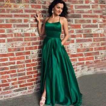 Sexy Dark Green Satin Evening Dress Slit Backless Prom Dress Halter Straps Back Evening Gowns Party Dress Abiye robe femme spot print knot back halter dress
