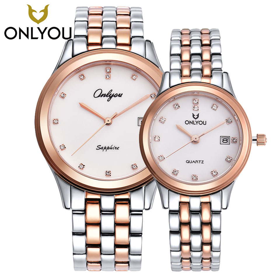 ONLYOU New Lover Watches Top Luxury Brand Gold Watches For Ladies Bracelet Quartz Clock Lovers Wristwatches 6937