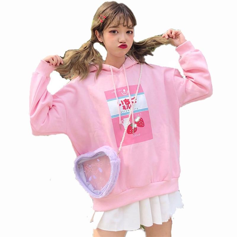 Harajuku Kawaii Japanese Strawberry Milk Print Hoodie Women Street Fashion Plus Velvet Thicken Sweatshirts Hooded Pocket Top 3XL