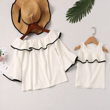 Mother Daughter Tops Family Clothing Fashion Mom And Kids Couple Look Print Family Matching Outfits Children Baby Girls Clothes 2016fall printing family matching outfits cotton kids clothing family look fitted lolita loose clothes mother daughter full set