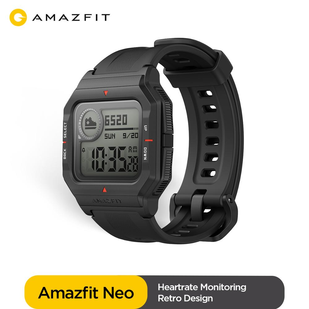 Global Version Amazfit Neo Smartwatch 28 Days Battery Life Retro Design 5ATM 3 Sports Modes Heart Rate Track Sleep Monitor