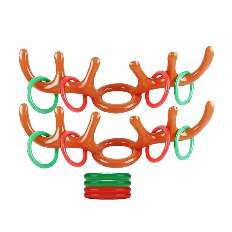2 Set Christmas Elk Antler Headband Toy Superb Craftsmanship Kids Playing PVC Smooth Appearance Inflatable Ring Toys