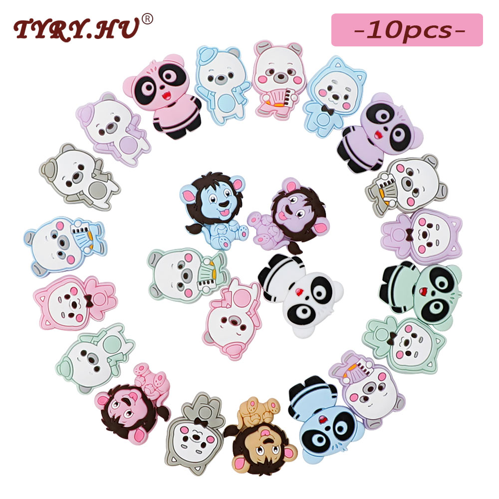 TYRY.HU 10pc BPA Free Cartoon Lion Silicone Beads Baby Chewable Teething Beads For Baby DIY Jewelry Making Necklace Baby Teether(China)