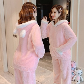 Autumn and winter coral velvet pajamas women long sleeves thickened large size Korean hooded flannel home service warm suit
