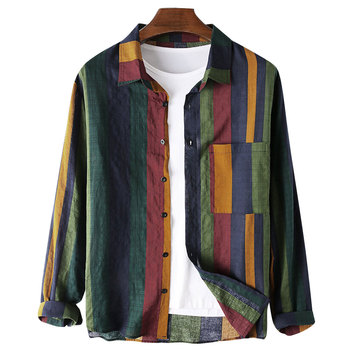 цена на Men's Blouse Regular-Fit Long-Sleeve Linen Shirt Button-up Striped Folded Collar Chest Pockets Casual Top Clothes