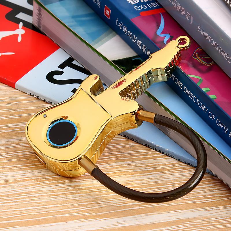 Guitar Fingerprint Lock USB Charging Mini Zinc Alloy 508DPI 360-degree Anti Theft Lock Fingerprint Padlock 85x32x12mm