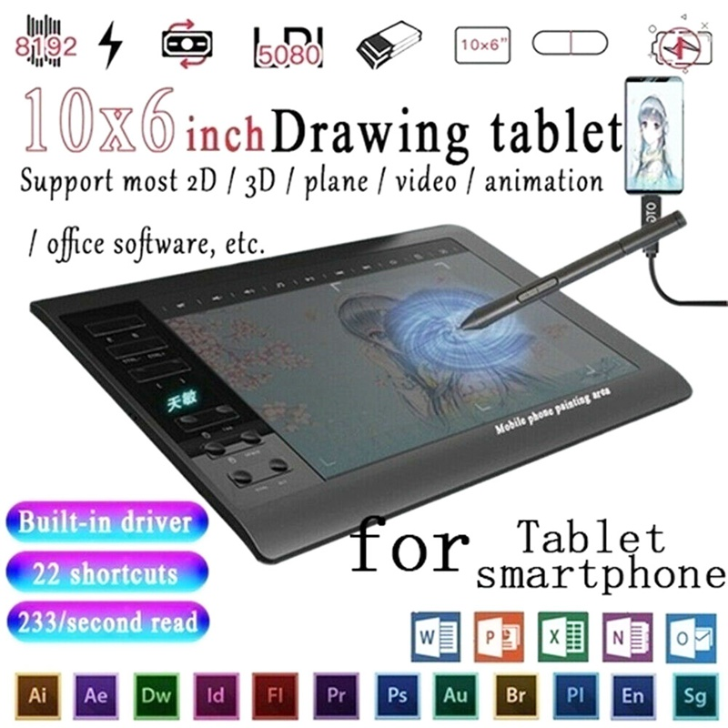 10*6'' IPS HD Graphics Drawing Digital Tablet Monitor Pen Display 233 Point Quick Reading Pressure Sensing Universal 2