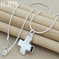 DOTEFFIL 925 Sterling Silber Kreuz Anhänger Halskette 18/20/22/24 Zoll Schlange Kette Für Frauen Mann Hochzeit Engagement Party Schmuck