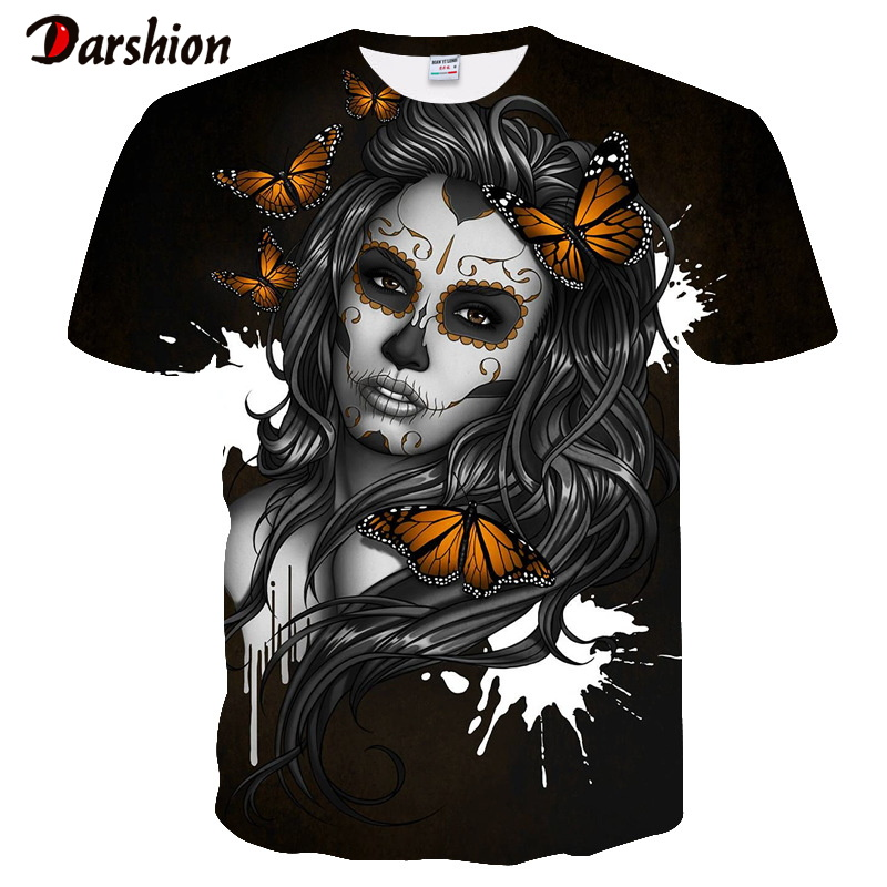New Fashion Men 3D T-shirts Funny Print Face With Beauty Butterfly Black Short Sleeves Top Summer Men's T-shirts Casual Clothing