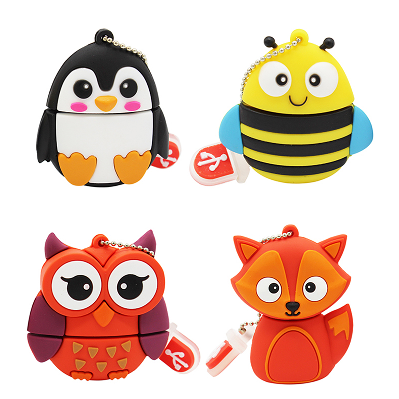 TEXT ME Cartoon  64GB  Cute Penguin Owl  Bee  Fox  Animal  USB Flash Drive 4GB 8GB 16GB 32GB Pendrive USB 2.0 Usb Stick