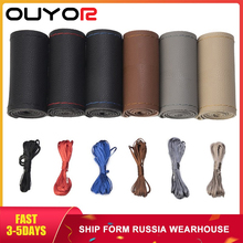 DIY Car Leather Steering Wheel Covers Braid on the Steering wheel Auto Cover With Needle and Thread Interior Accessories Kits