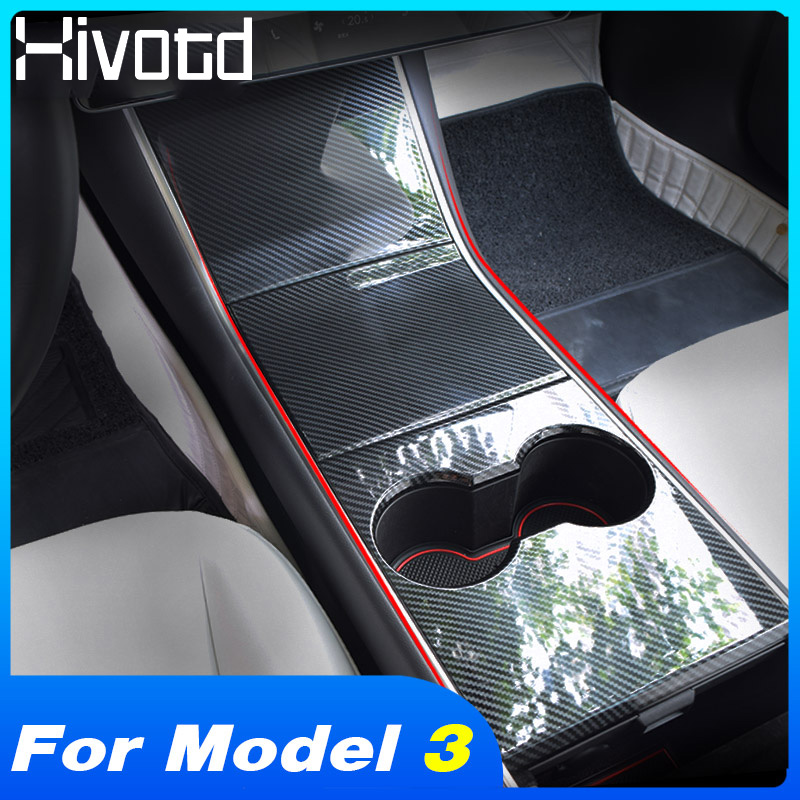 Hivotd For Tesla Model 3 2018 2019 Accessories Central Console Water Cup Panel Cover Carbon Fiber Decoration Sticker Car Styling