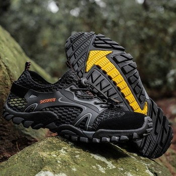 Breathable Mesh Men Tactical Hiking Shoes Outdoor Non-slip Durable Trekking Climbing Shoes Male Upstream Wading Water Sneakers gomnear hiking shoes women outdoor trekking non slip breathable damping sneakers tourism mountanineering climbing trend boots