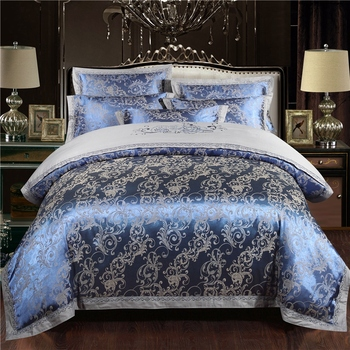 Luxury Silk Cotton Bedding Set Embroidery Bed Lines Satin Soft Comfort Jacquard Bedclothes Linen Bedspread  Queen King Size 4Pcs
