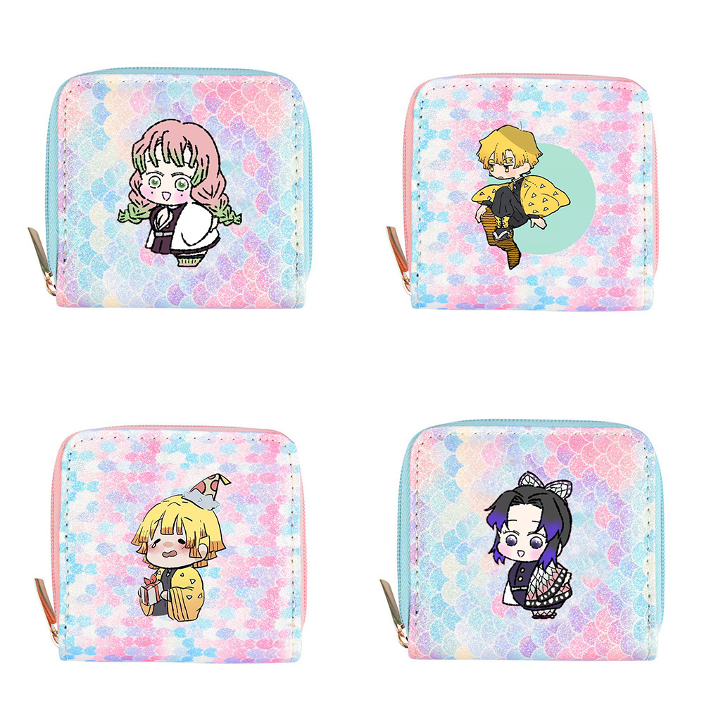 Anime Demon slayer gradient color wallet zipper storage bag cute coin key case storage small bag gift
