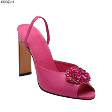 Pink High heels Women Shoes luxury Summer Sandals 2019 Brand Designer Ladies wedding Rhinestone G Sandals Shoes Woman lace up pink white flowers sandals women crystal studded crossover chunky high heels runway rhinestone summer wedding shoes for ladies