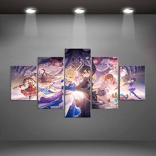 Modular Canvas Picture 5 Pieces Animation character Sword Art Online Fate stay night Painting Decor Wall Prints