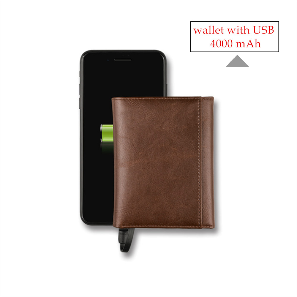 2020 Smart Wallet With USB Charging Wallet Adapt For Ipone And Android Capacity 4000 MAh 3 Colors Money Bag Men Wallet