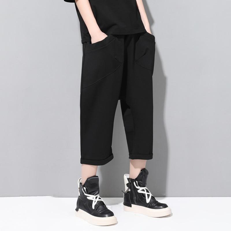 Fashion Summer Women Calf Length   Capris   Trousers Female Boyfriend Hip Hop Loose Fit Drop Crotch Harem   Pants   Casual Streetwear