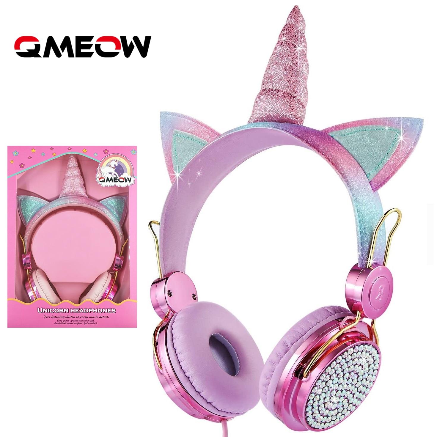 Cartoon Unicorn Wired Headphone Girls Daughter Music Stereo Earphone Computer Phone Headset Kids Gift Cute Unicorn With Mic 1