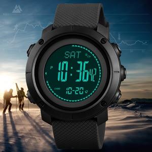 Image 1 - SKMEI thermomètre pour hommes, Montre bracelet, thermomètre à laltitude, numérique de sport, horloge, escalade, randonnée, 1427