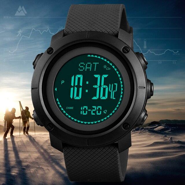 SKMEI thermomètre pour hommes, Montre bracelet, thermomètre à laltitude, numérique de sport, horloge, escalade, randonnée, 1427