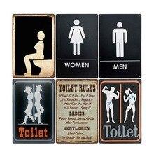 Letreros de lata para inodoro, placa de Metal Vintage para artículos de tocador, cartel para WC, Bar, Pub, baño, decoración, plato retro de 20x30 cm