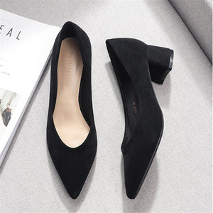 Image 4 - Square High Heels Shoes Woman 2020 Summer Flock Faux Suede  Point Toe Black Heels Womens Shoes Office Ladies Female Pumps Shoes