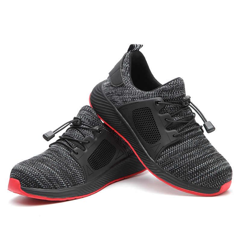 Yeni çelik burun erkekler iş ayakkabısı güvenlik sneakers hafif rahat erkek botları nefes açık ayakkabı ROXDIA marka RXM168