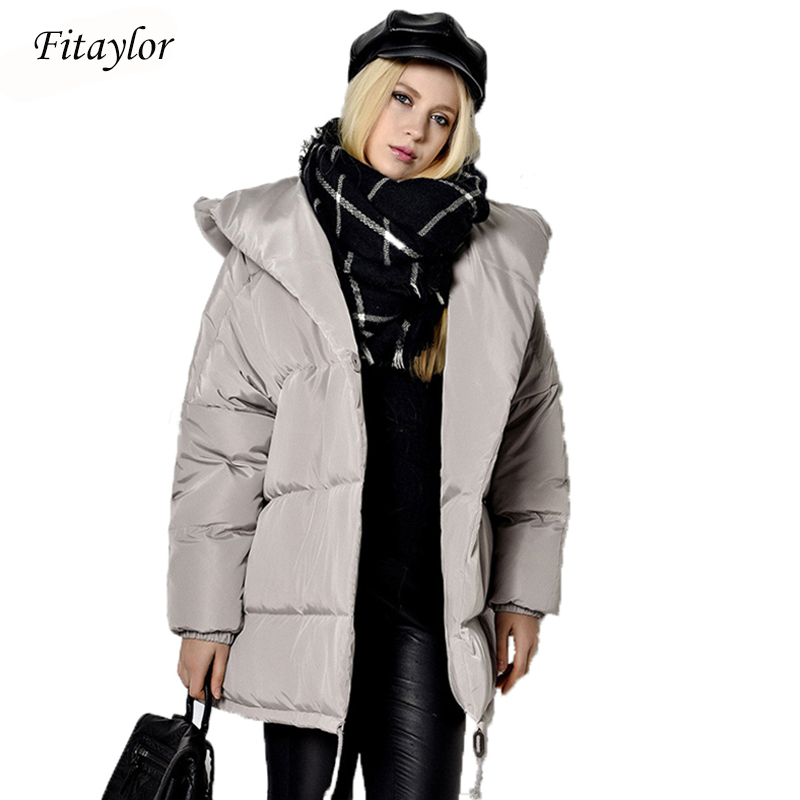 Fitaylor New 2020 Winter Women Parkas Irregular Loose Fit Bread Snow Hooded Jacket Plus Size 90% White Duck Down Maternity Coat