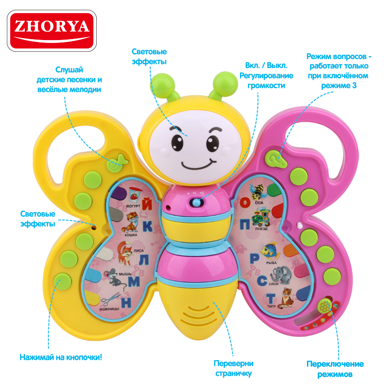 Zhorya Bee Study Book with Russian Voice Baby Toy Animal Learning Page Turning Electronic Toys for Children Christmas Gifts image