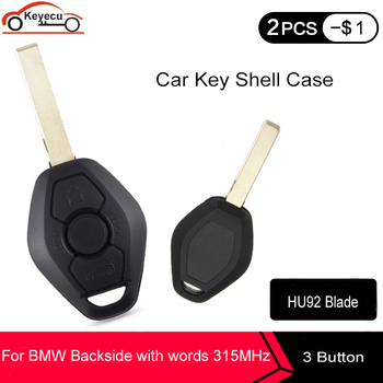 Keyecu Remote Key Shell Case 3 Button HU92 for BMW 3 5 7 Series Z3 E46 E39 E38 740iL 740i Backside with words 315MHz image