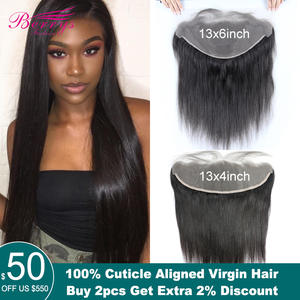 Virgin-Hair Lace-Frontal TRANSPARENT Berrys Fashion Pre-Plucked Straight Bleached 13x6