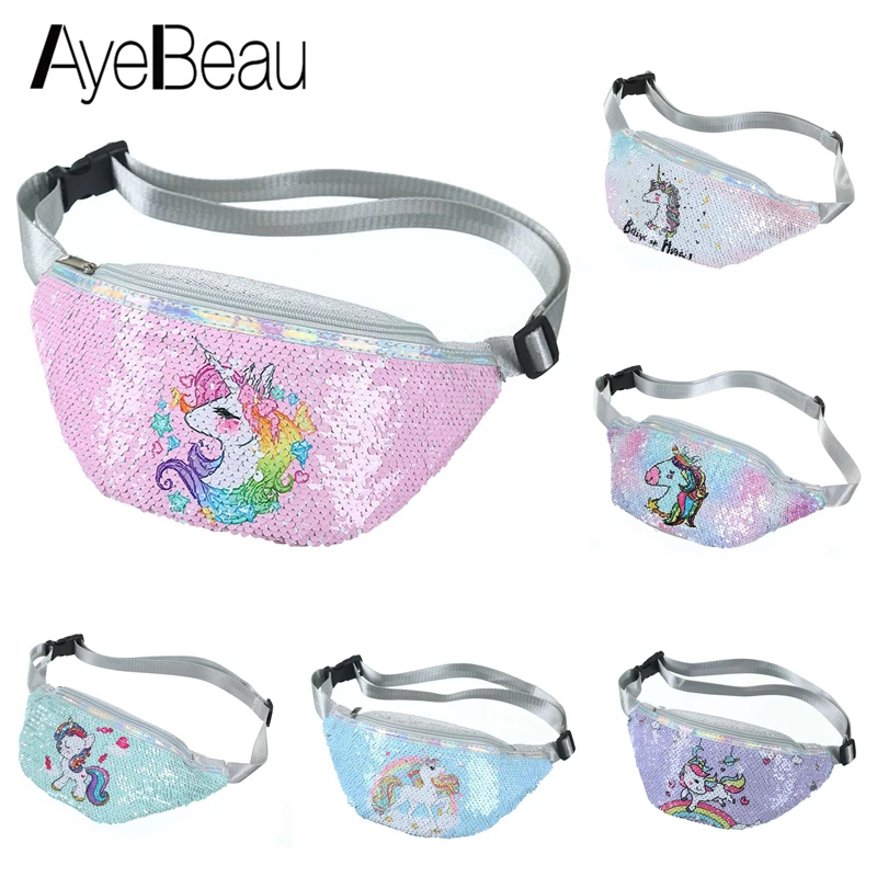 Unicorn Belly Banana Bum Hip Chest Belt Waist Bag For Children Girl Kid Women Fanny Pack Female Pouch Murse Purse Kidney Beltbag