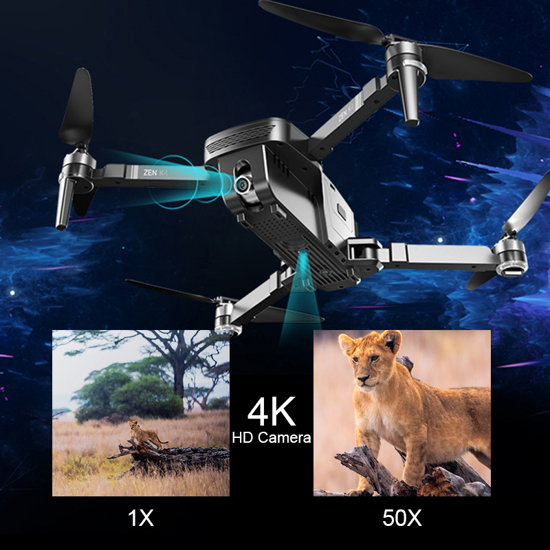 VISUO ZEN K1 RC Drone 5G WIFI GPS Brushless 50X Zoom 4K Dual Camera 30mins Flight Times Beauty Filter Figure RC Quadcopter Drone