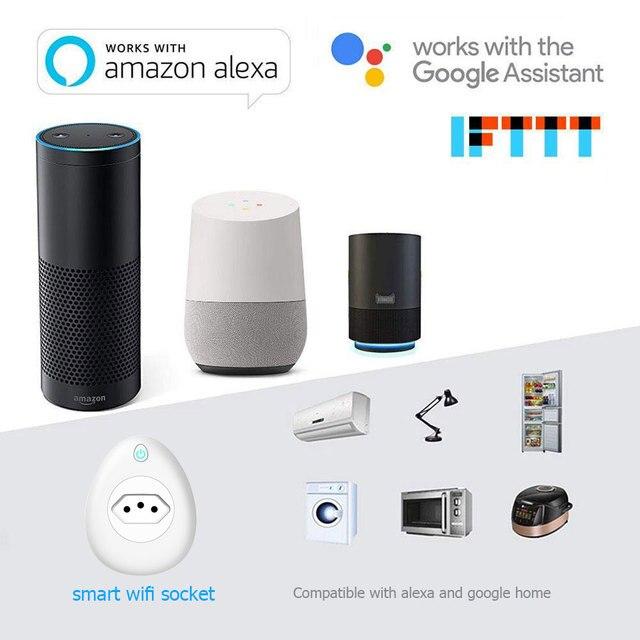 WIFI intelligent brésil prise moniteur dalimentation 15A BR prise sans fil prise de contrôle vocal travail avec Alexa Google home avec USB vie intelligente