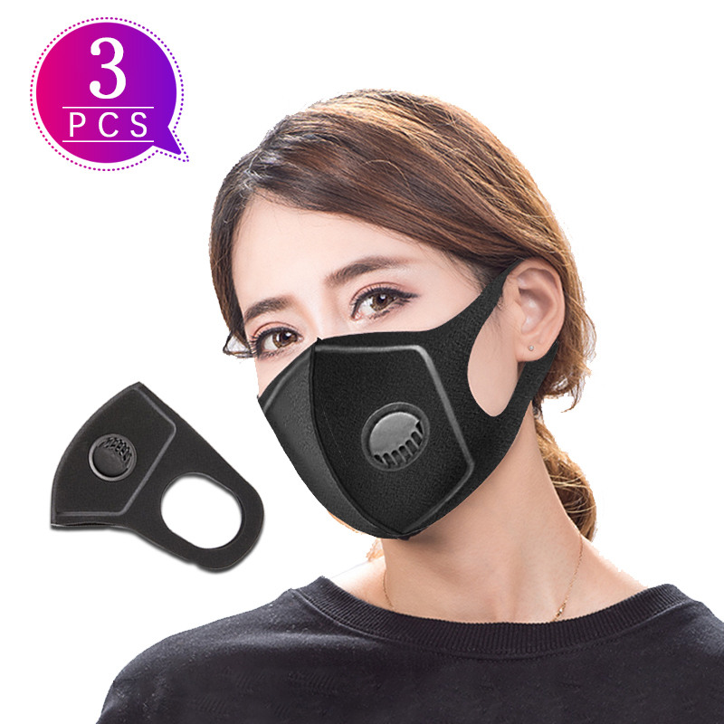 3pcs Mask With Valve antiDustproof  Mask Mask Face Korean  Mouth Caps Protection 3d Anti Dust  Personality  Disposable Mask
