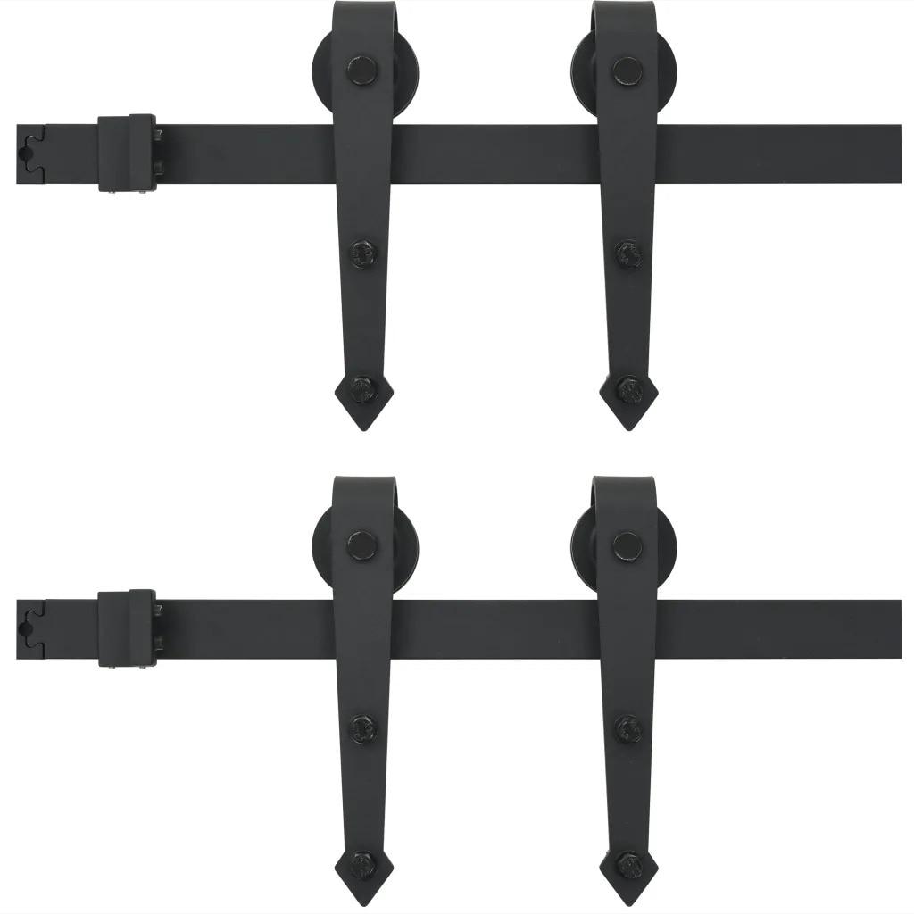 VidaXL Kit de quincaillerie de porte en bois de grange coulissante en acier 2x183cm Kit de voie coulissante glissière Rail suspendu pour porte placard mouvement noir V3 - 2