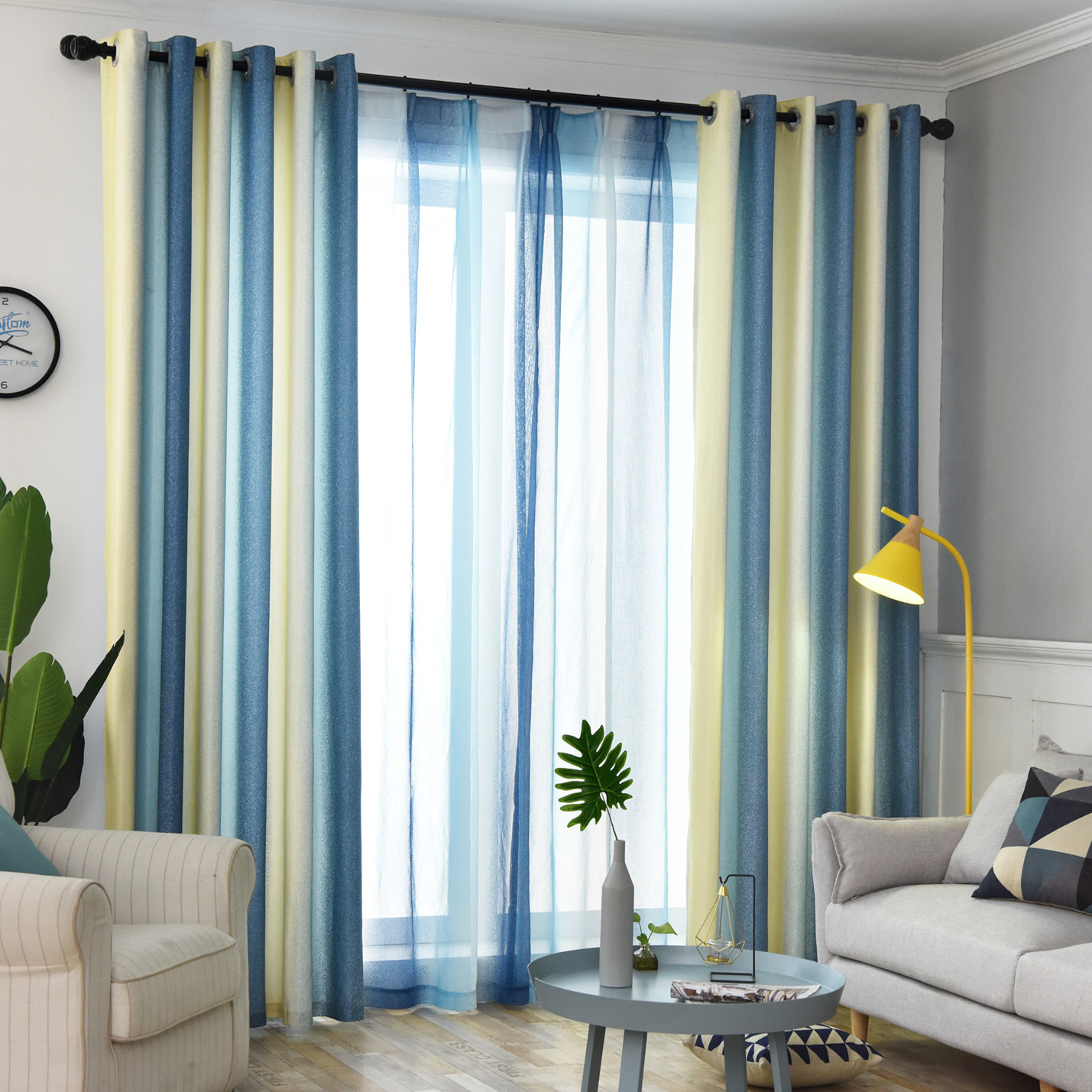 Nordic Style Gradient Striped Modern Imitation Linens beautiful colorful  Curtains for Living Room Bedroom dining room