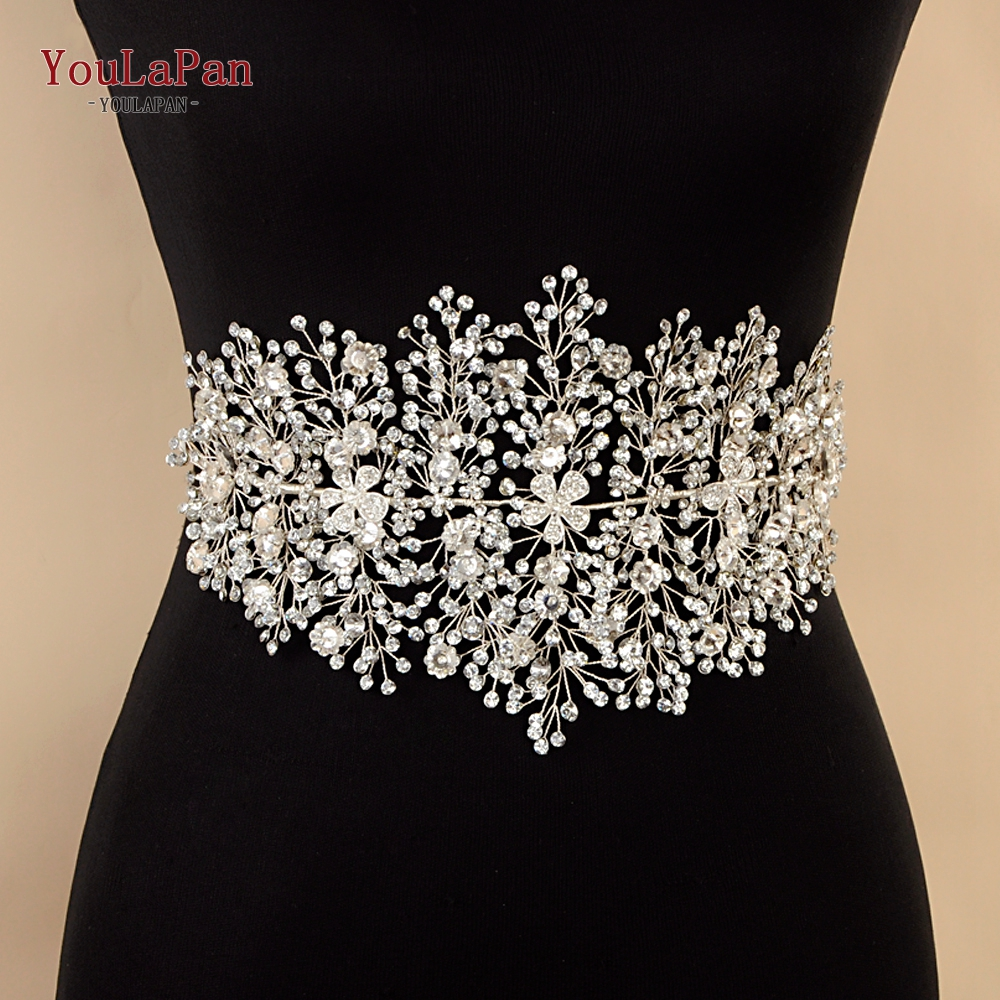 Image 3 - YouLaPan SH240 rhinestone belt bridal jeweled belt for formal dress Sliver diamond belt Alloy flower crystal beaded belts-in Bridal Blets from Weddings & Events