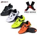 Darevie Sapatos de Ciclismo de Estrada Homens, Parte Superior de Couro Sintético com Buracos Respirável, Importado TPU Sole Sapatos De Ciclo, compatível com LO