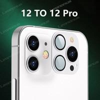 Für iPhone X XS MAX 12 Ändern zu 12 Pro Objektiv Metall Gehärtetem Glas Kamera Objektiv Film Für iPhone 11 XS zu 12 Pro i12 zu 12 Pro Objektiv