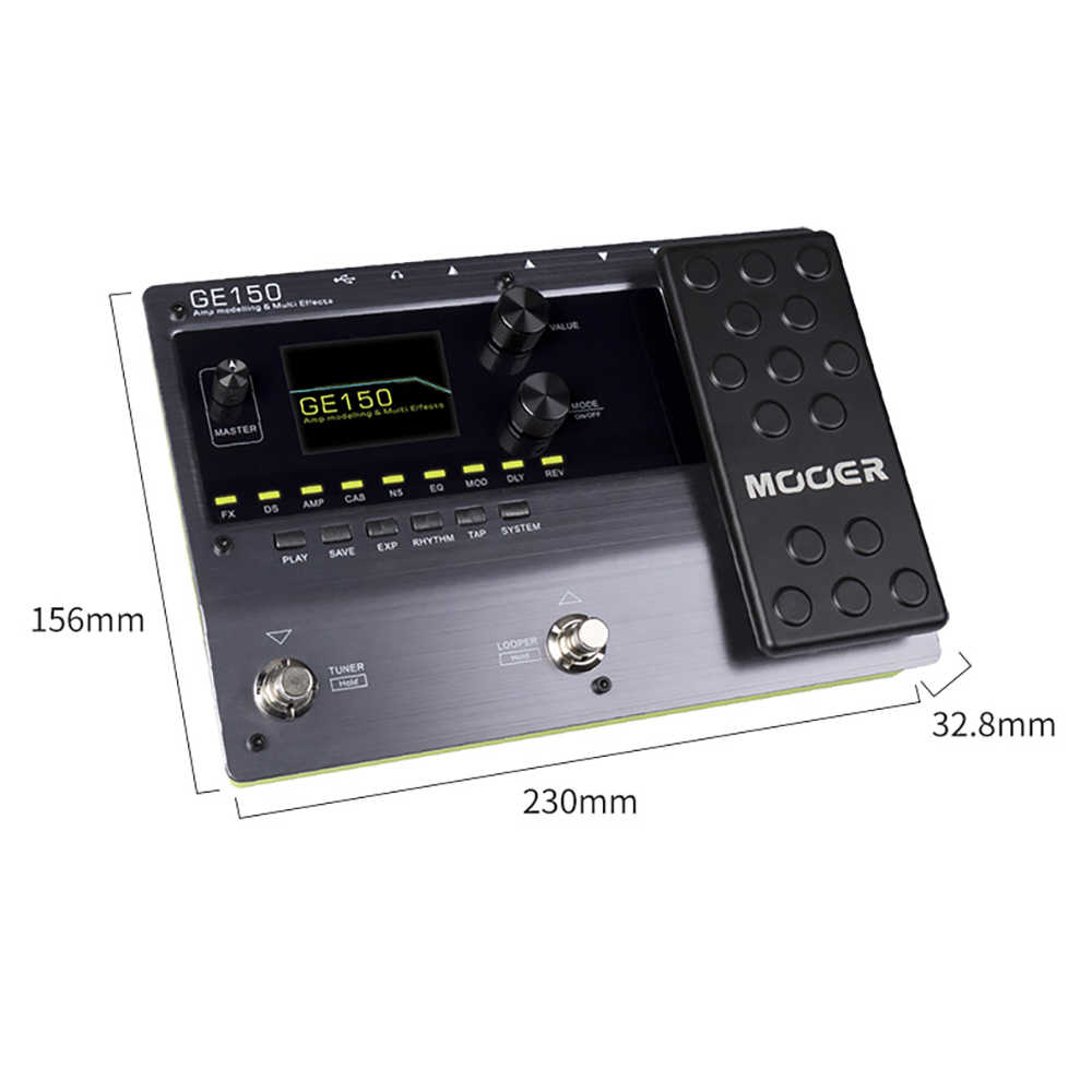 MOOER GE150 หลอดดิจิตอล AMP Modeling Guitar Multi-Effects Pedal Processor 55 AMP รุ่น 9 ประเภทผลการบันทึก LOOP (80)