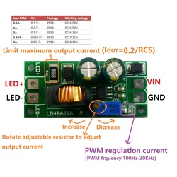 72W DC 6-50V 1-3A Adjustable LED Driver PWM Controller DC-DC Step-down Constant Current Converter