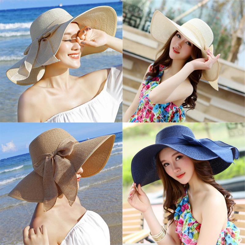 Big Straw Hat Covered Bow Shaped Visor Cap Collapsible Summer Wide-Brimmed Hat UV-resistant Sun-proof Sunscreen Beach Hat